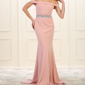 Dusty Rose Bridesmaid Stretchy Evening Formal Gown